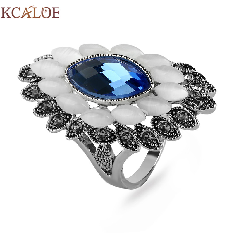 KCALOE Blue/Brown/Gray Cubic Zirconia Wedding Ring Antique Silver Plated Natural Opal Stone Vintage Rhinestone Long Women Rings