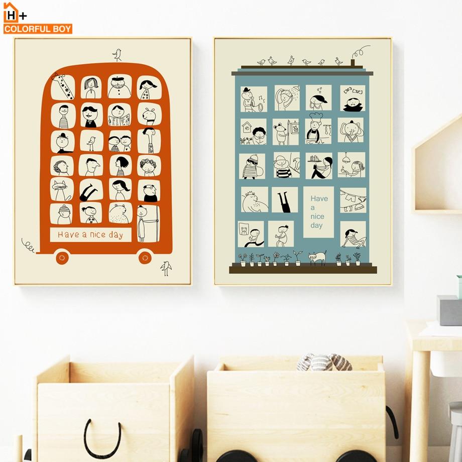Cartoon Bus Wohnung Zitate Wand Kunst Leinwand Malerei Nordic Poster Und  Drucke Tiere Leinwand Kunst Wand