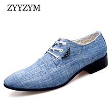 ZYYZYM Shoes Men Casual Spring Summer Canvas Fashion Trend Tie Pointed Breathable Party