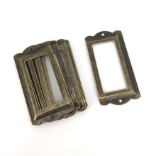 12Pcs Antique Bronze Metal Label Frame File Name Card Holder For Furniture Cabinet Drawer Box Case Bin