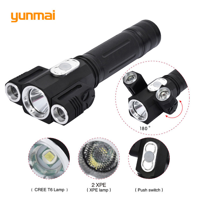 5000LM Cree xml t6+2Q5 Flashlight Powerful Led Torch Rechargeable Lanterna Flash Light use 18650 Battery for camping hiking