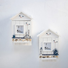 Wall-mounted Mediterranean Style Solid Wood Key Box Living Room Cabinet Sea Bird Tower Decoration Storage