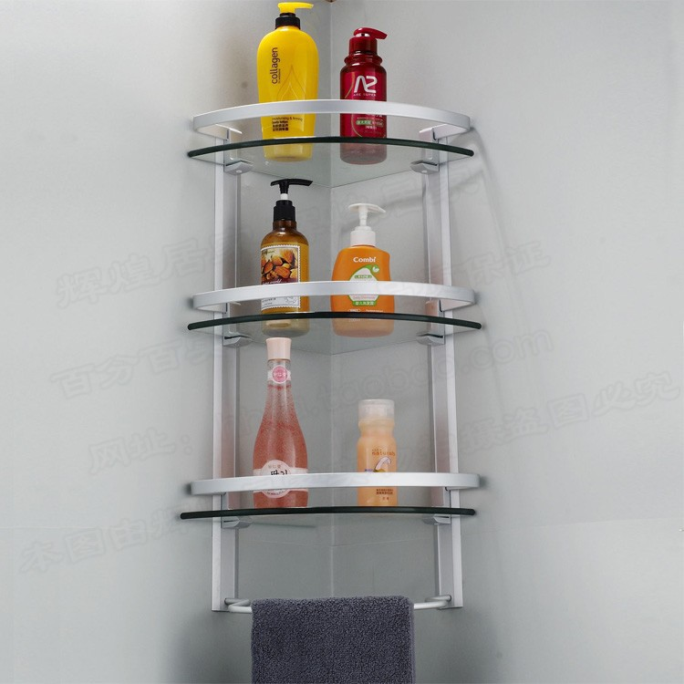 Aluminum 3 tier glass shelf shower holder bathroom accessories ...