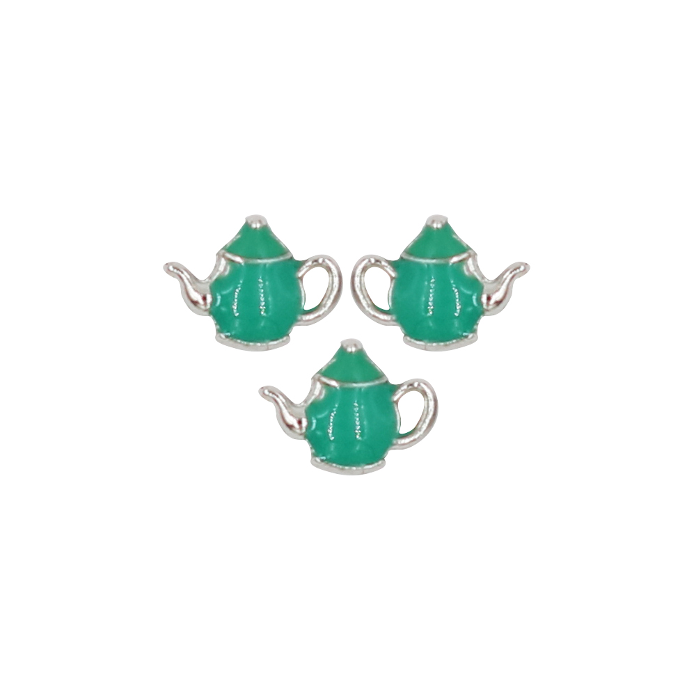 10PCS Alloy Enamel Cute Teapot Floating Charms Fit Glass Locket DIY Jewelry Accessories