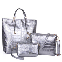 Crocodile Pattern Composite Handbags 3 Pieces Set Fashion Women Big Capacity High Quality Female Shoulder Bags Gold Silver Black