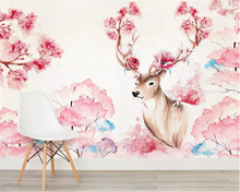 beibehang Custom wallpaper 3d mural Watercolor flower fashion animal deer childrens room decoration background