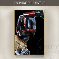 Low Price High Quality Hand painted Wall Art Canvas Red Wine Oil Painting for Dinning Room Decor Handmade Wine Oil Painting