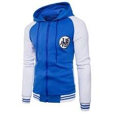 Tendencia nuevo japonés Anime Dragon Ball Goku Varsity chaqueta con capucha 2018 primavera Casual cremallera sudadera chaqueta