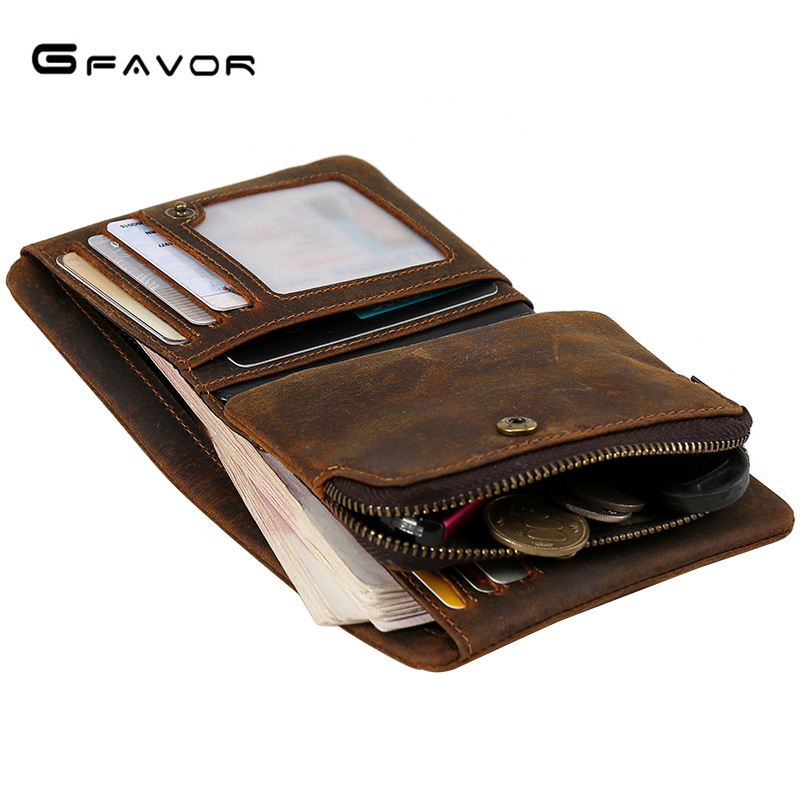 High Gualit Vintage Crazy Horse Genuine Leather Wallet Men Purse Leather Men Short Style Male Wallet Coin Bag Money Holder men wallet crazy horse genuine leather purse money vintage zipper card holder coin photo high quality 2017 male wallets casual