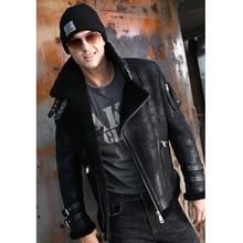 Модная теплая меховая одежда, мужская зимняя куртка из натурального меха, Мужская черная верхняя одежда из настоящей овчины