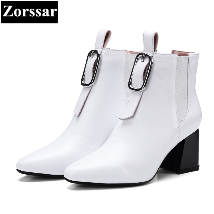 {Zorssar} 2017 NEW fashion buckle Womens Chelsea boots pointed Toe High heels ankle Boots Autumn winter women shoes with heels zorssar brands 2018 new arrival fashion women shoes thick heel zipper ankle chelsea boots square toe high heels womens boots