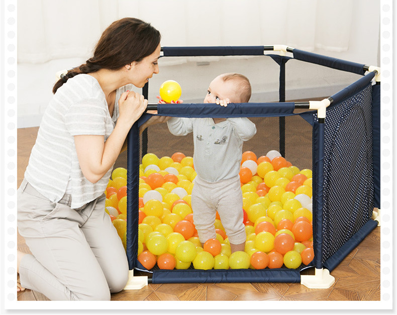 Image 3 - Baby Playpen Portable Plastic Fencing For Children Folding Safety Fence Barriers For Ball Pool For Child Travel Basketball hoop-in Baby Playpens from Mother & Kids