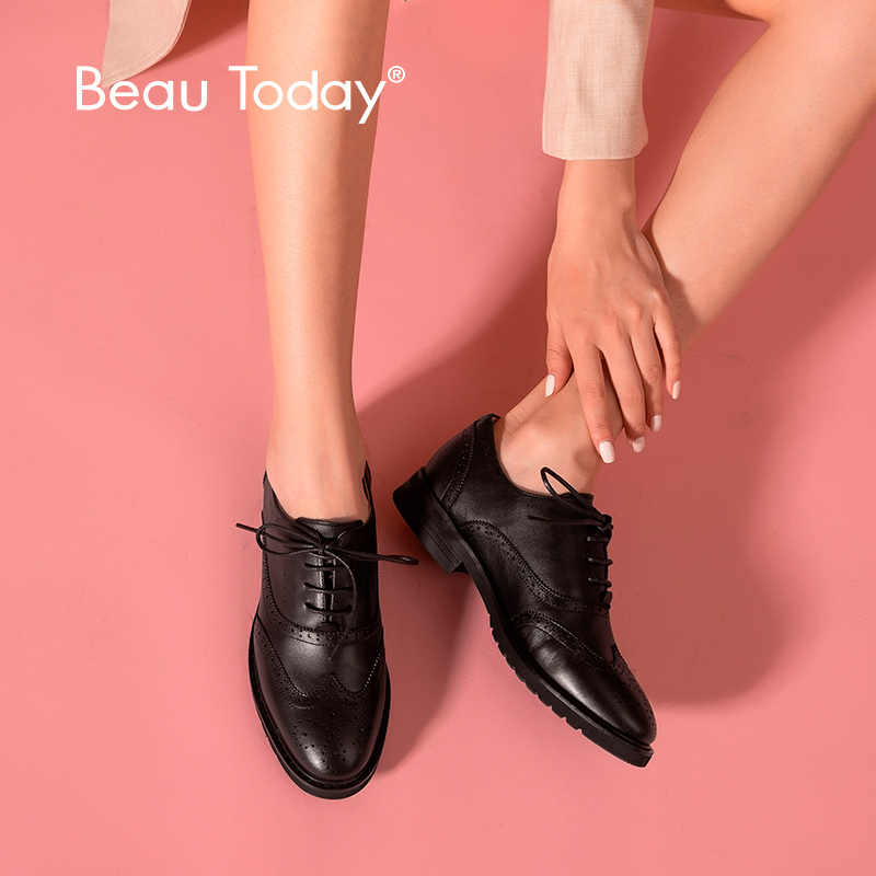 BeauToday Oxfords Vrouwen Kalfsleer Lederen Wingtip Lace-Up Sluiting Dames Brogue Platte Schoenen Handgemaakte A21069