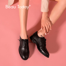 BeauToday Oxfords Women Calfskin Genuine Leather Wingtip Lace-Up Closure Ladies Brogue Flat Shoes Handmade A21069