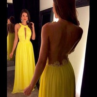 2017 Long Yellow Prom Dresses O Neck A Line Chiffon Sheer Back Formal Party Gowns Graduation