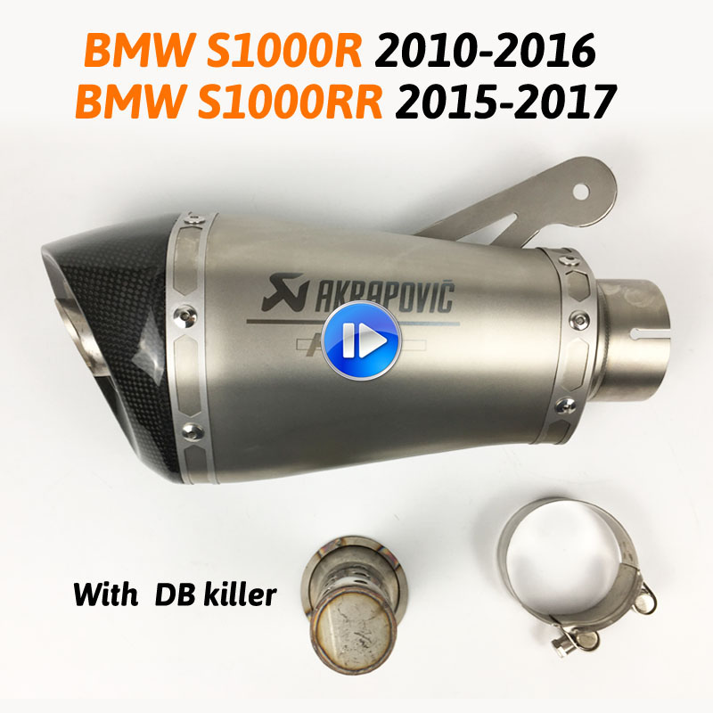 60MM Motorcycle <font><b>Exhaust</b></font> Muffler with Akrapovic Laser Marking Slip on for BMW <font><b>S1000R</b></font> 2010-2016 S1000RR 2015-2017 with db Killer image