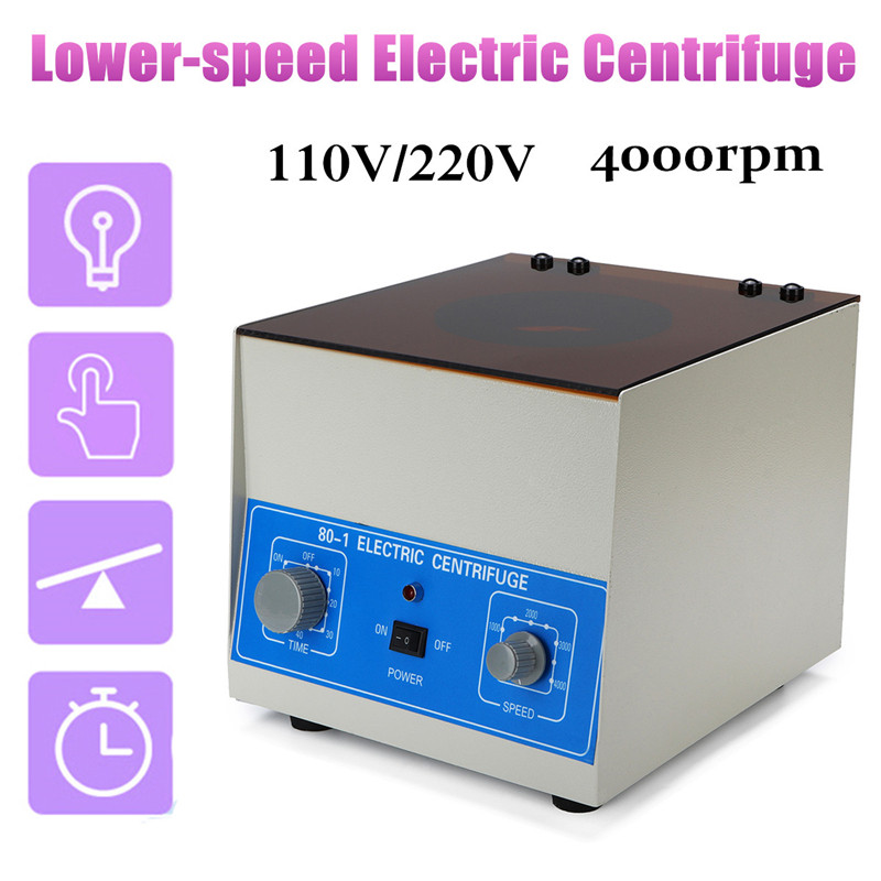 Lower-speed Centrifugal Machine 110V US / 220V EU 80-1 Stepped Speed Start -4000 rpm 25W Capacity 20ml x 6 Angle Type Separation 80 1 lab centrifuge laboratory supplies medical practice 4000 rpm 20 ml x 6 1795xg