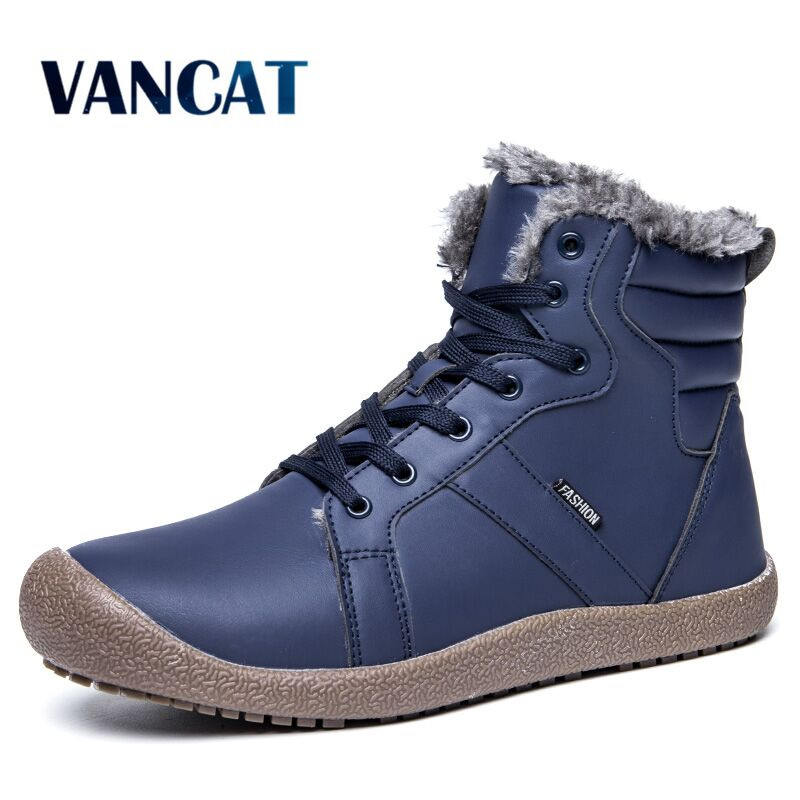 Vancat Winter Shoes Men Rubber Snow Boot Waterproof Leather Ankle Boots Men Fur Men's boots Casual Safety Work Motorcycle boots цена 2017