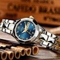 Señoras reloj JSDUN alta calidad moda femenina mecánico reloj mujeres de lujo de acero inoxidable reloj de oro Rosa 2017