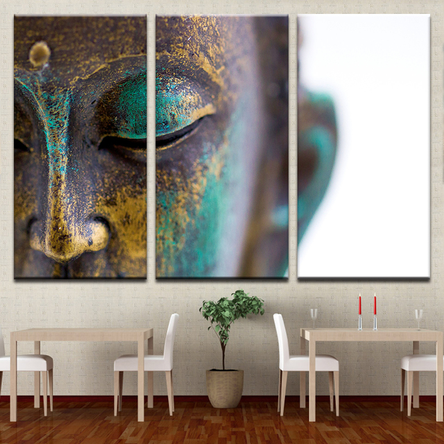 Canvas Paintings Wall Art Home Decor 3 Pieces Buddha Statue Face