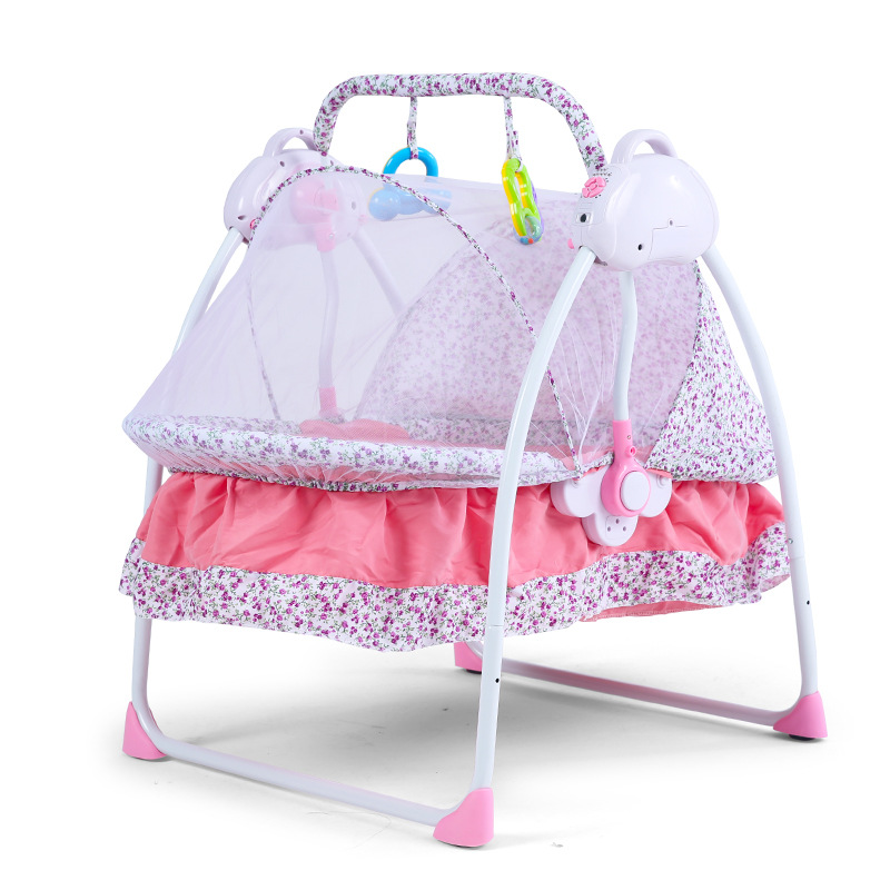 New Baby Bed Electric Cradle Folding Baby Cradle With Mosquito Nets Smart Multi-functional Portable Cradle For Baby