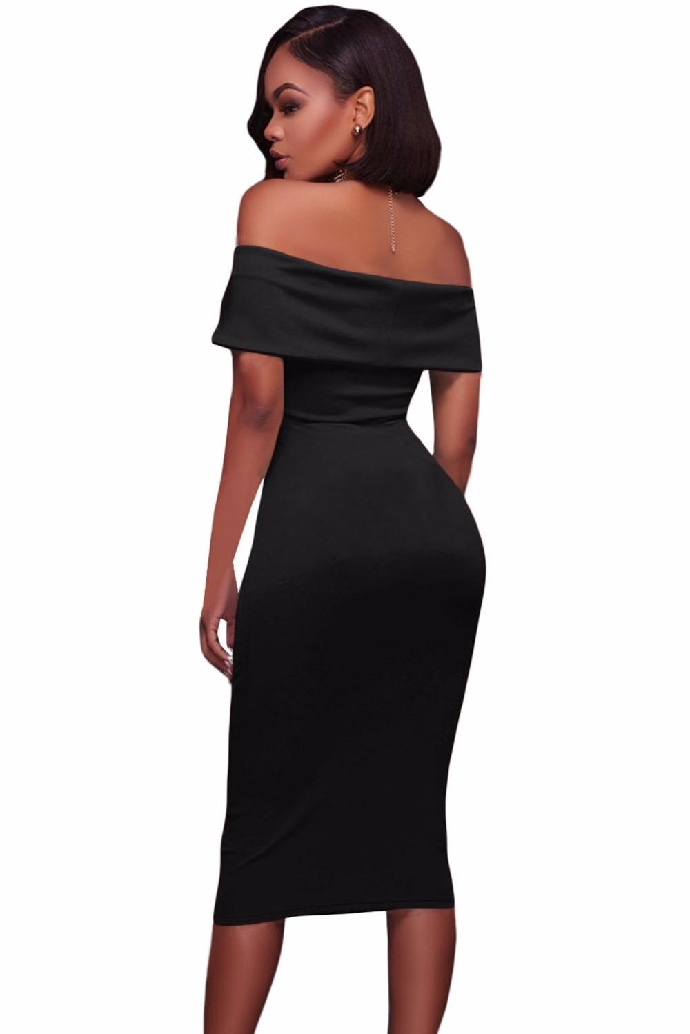 Black-Ruched-Off-Shoulder-Bodycon-Midi-Dress-LC61507-2-3