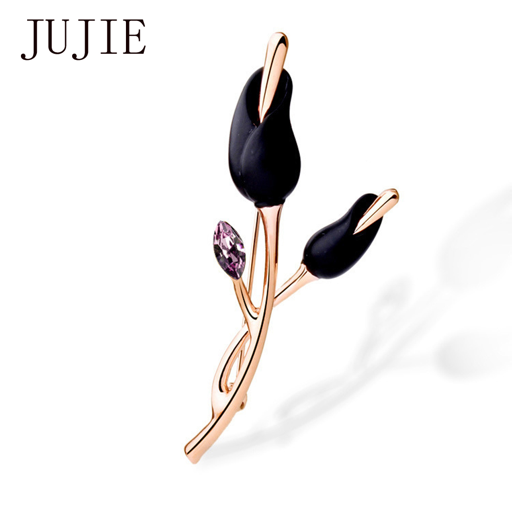 JUJIE Exquisite Flower Brooches For Women Fashion Crystal Brooch Pins Unique Design Gold Color Brooches Brand Jewelry