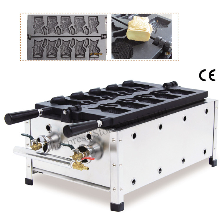 Ice Cream Cone Taiyaki Machine Gas Type 5 Moulds Open-mounth Fish Waffle Taiyaki Machine Street Snack Machine digital taiwan taiyaki machine taiyaki waffle making machine