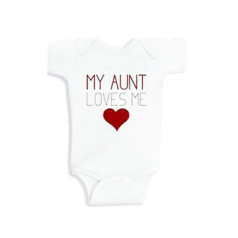 Culbutomind Red My Aunt Loves Me 2017 New Fashion Cotton Short Sleeve Baby Bodysuit Cute Newborn BabyBoysGirlsBirthdayClothes