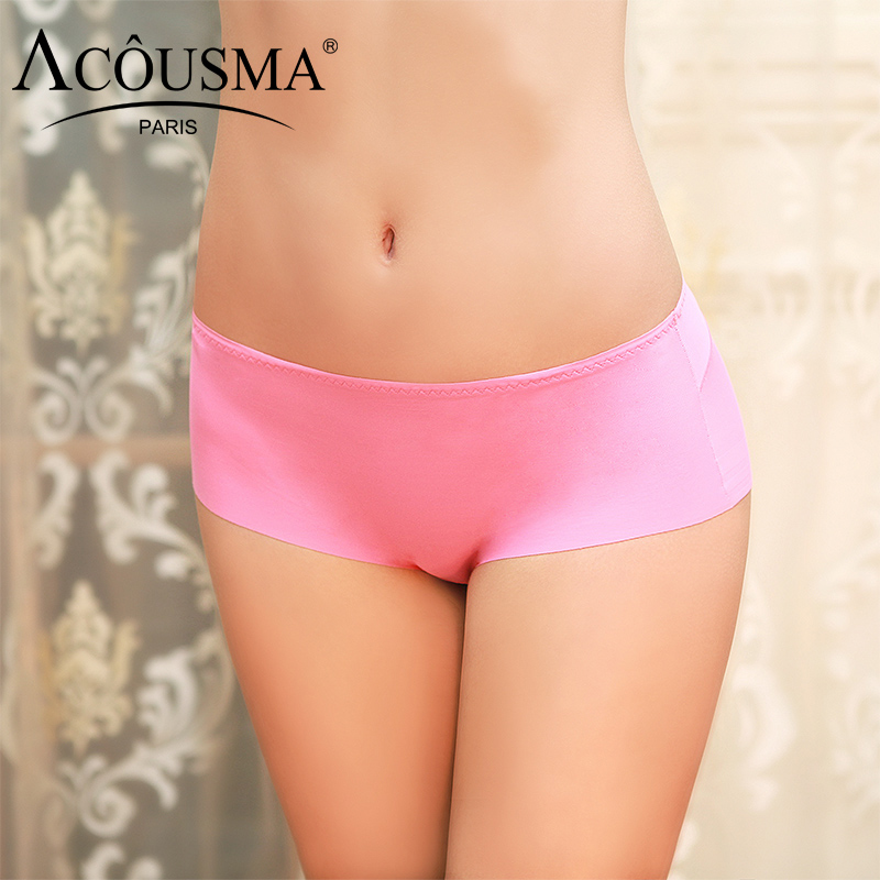 Buy ACOUSMA Women Seamless Briefs Cotton Crotch Thin Comfortable Panties Soild Rose Red Sexy Underwear Low Waist High Quality