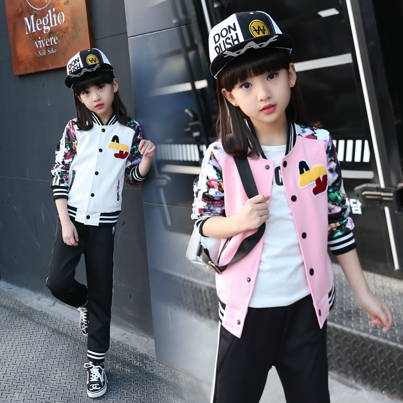 Garment Girl Autumn Clothing Suit New Pattern Korean Girl Fashion Two Children Spring And Autumn Fashion Suit Hot купить дешево онлайн
