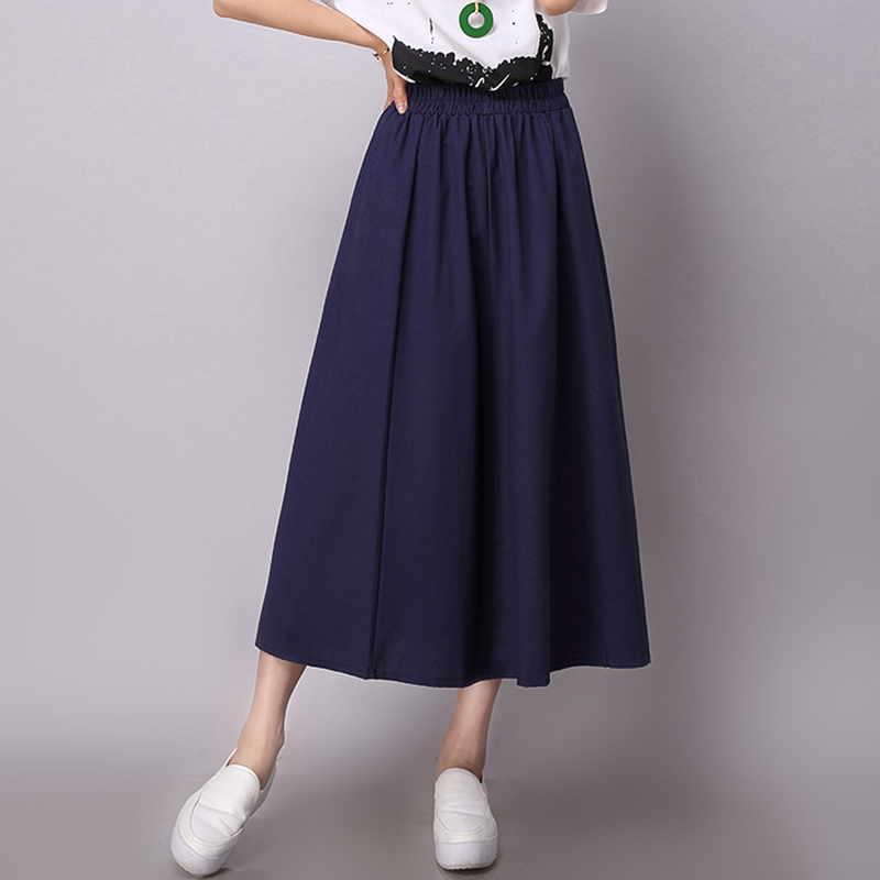 New Hight waist Women Casual Skirt for girl Japanese school pleated Female skirts Cotton Linen Women clothing Bottoms S2398