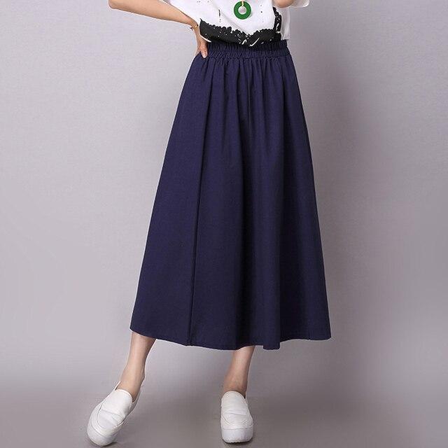 New Hight waist Women Casual Skirt for girl Japanese school pleated Female skirts Cotton Linen Women clothing Bottoms S2398