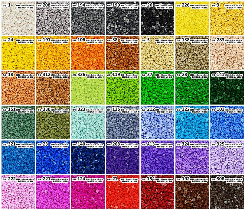 5900pcs lot Kennie NO 3024 Bulk color Parts bulk 1x1 low bricks Particles Classic Small Building