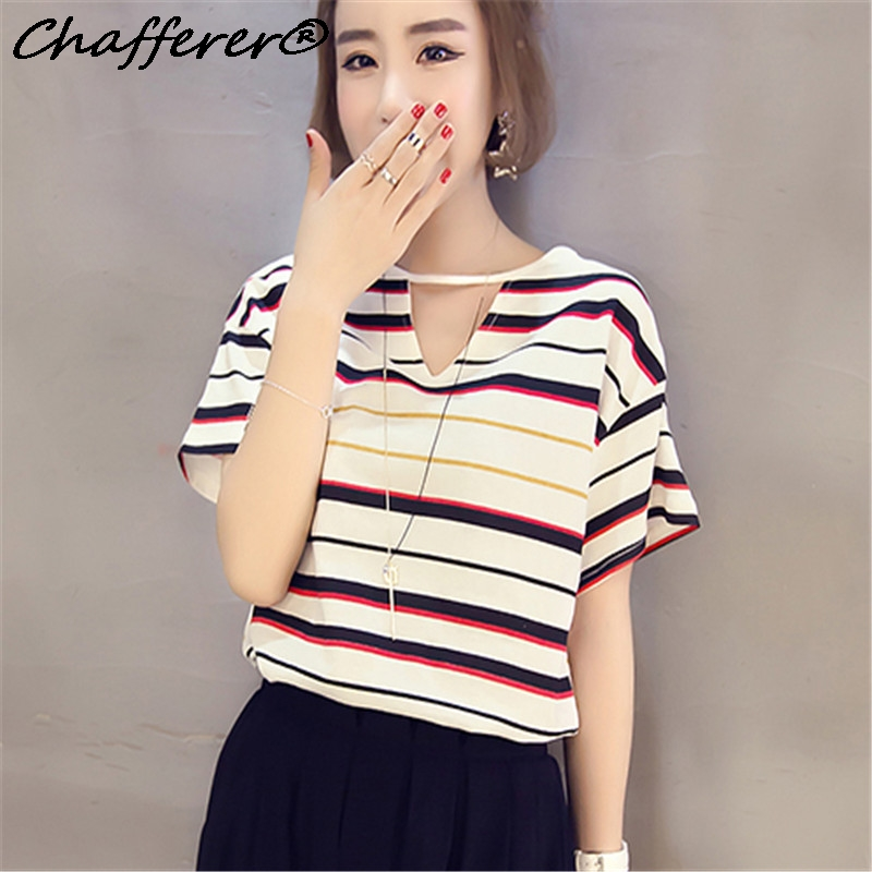 Hollowed Neck Summer Retro Chic Loose Hole Striped T Shirt Sexy Hot College Women T Shirt