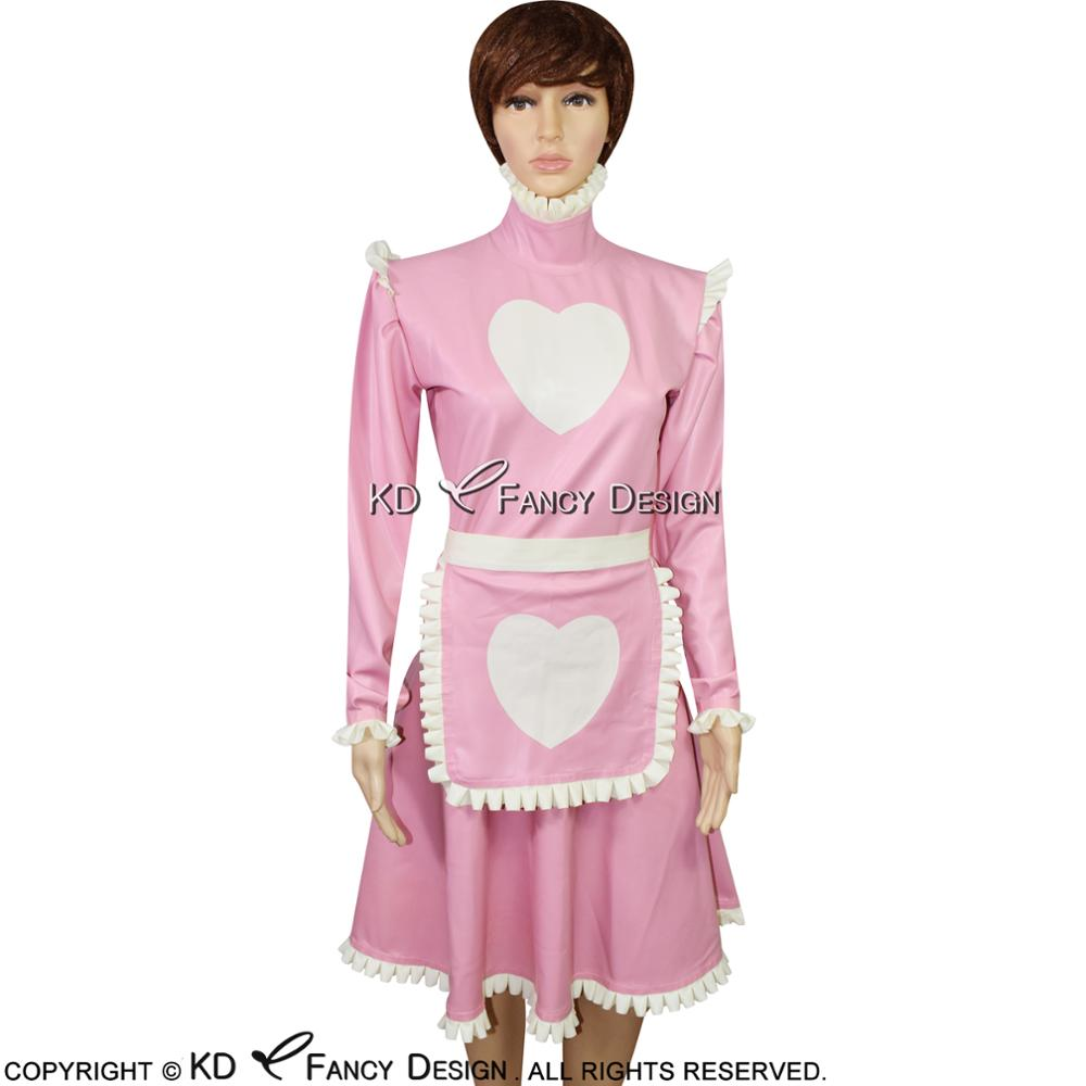 Pink With White Sexy French Maid Latex Dress With Apron Heart Decoration Rubber Dress Uniform Playsuit Bodycon LYQ-0064