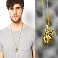 2017 fashion personality gold men necklace retro heart pendant necklace long pendant Lovers male women gift