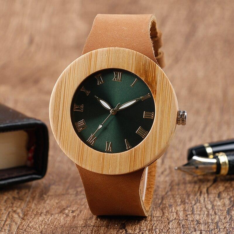 Luxury Top Brand Natural Bamboo Wood Watch Green Round Dial Quartz Wrist Watch Women's Genuine Leather Strap Wrist Watch Ladies
