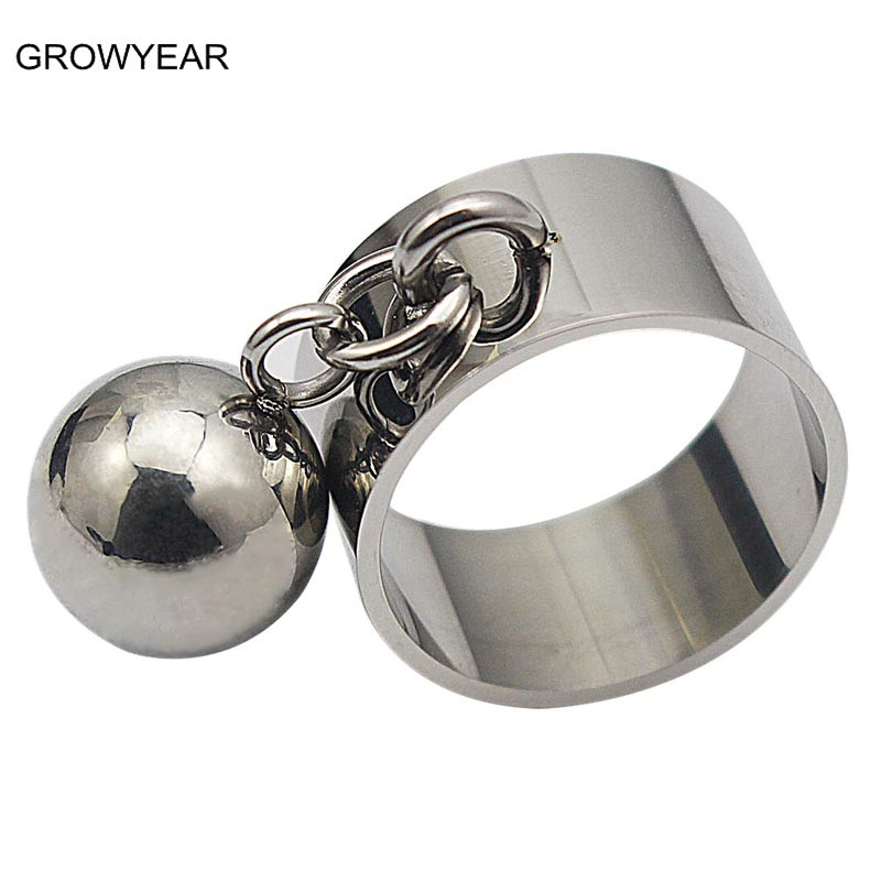 Christmas Gift Stainless Steel Ball Party Ring Silver Color Women Fashion Jewelry Size 7 10 9 8 6 11