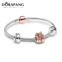 DORAPANG Christmas Newest 925 Sterling Silver Sparkling Surprise Charm Fit Bracelets Rose Clear CZ Women Gift