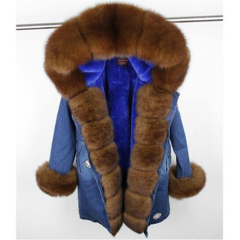MaoMaoKong 2017 new long fashion denim winter jacket women natural real fox fur coat hooded faux fur Liner warm thick parkas