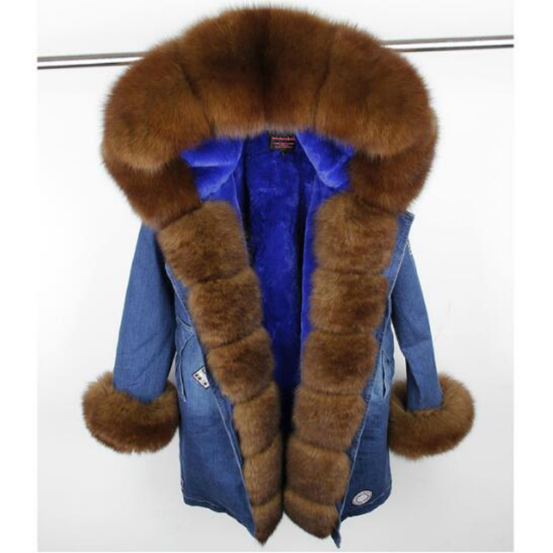 MaoMaoKong 2018 nouvelle longue mode denim veste d'hiver femmes naturel réel fourrure de renard manteau à capuche en fausse fourrure Doublure chaude épaisse parkas