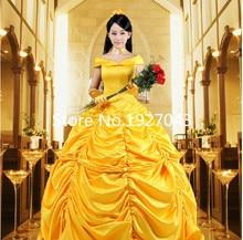 Beauty And The Beast La Belle et la Bete Princess Dress Bell Yellow Cosplay Halloween Costume Customized