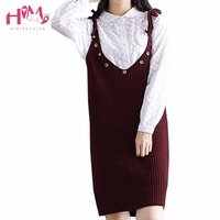 Sonbahar Kore Yeni Stil Kadın Moda Kemer Spagetti Kayışı Elbise Ince Keyfi Kombinasyonu Sevimli Gösteri Rakam Örgü Mini Elbise