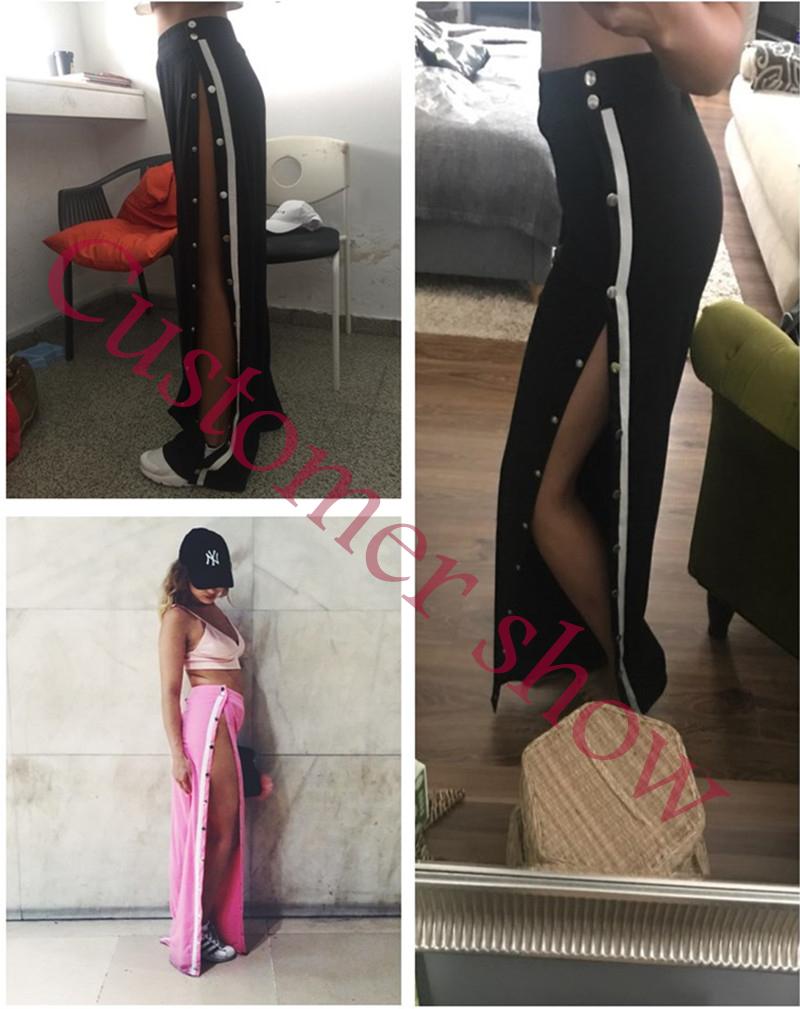 HTB1gnpIXJ.LL1JjSZFEq6AVmXXay - Red button track pants runway Women's wide leg trousers casual pants JKP012