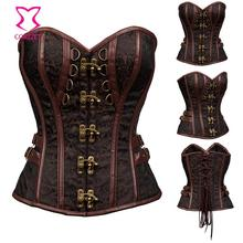 Red/Black Brocade Punk Rave Bustier Sexy Corsets And Bustiers Gothic Corset Steampunk Korsett Burlesque Plus Size Women Clothing