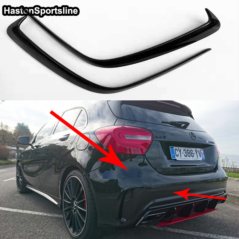 Mercedes A Class W176 A45 AMG Carbon Fiber Rear Bumper Air Vent  Molding Trim canards Splitter for Benz W176 AMG Only 2016 2017-in Bumpers from Automobiles & Motorcycles    1