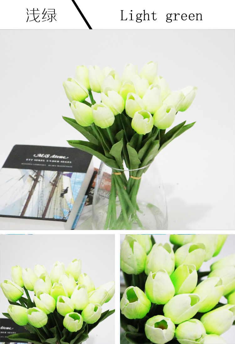 ดอกทิวลิปปลอม 10 ชิ้น/ล็อตหนังเทียมสัมผัสจริงดอกไม้ประดิษฐ์ดอกทิวลิปงานแต่งงานหน้าแรกตกแต่ง 13 สีดอกทิวลิปช่อดอกทิวลิปสีเหลือง