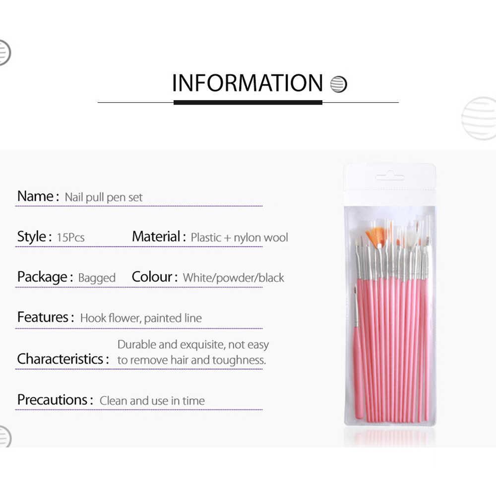 15 stks/set Fototherapie Manicure Tool Lijn Tekening Geschilderd Pen Nail Art Brush Wit Zwart Roze Licht Bar 3 Kleuren Optionele