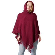Women Winter Hooded Cape Femme Hiver Loose Tassel Knitted Ponchos Y Capas Mujer Cardigan Long and Capes Shawls